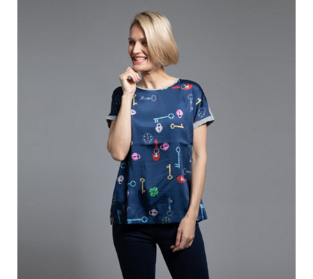 ANNI FOR FRIENDS Blusenshirt Annabel 1/2-Arm Materialmix Druckvielfalt