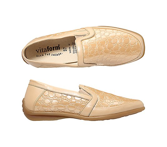 VITAFORM Damen-Slipper echt Leder mit Stretchmaterial Kroko-Optik