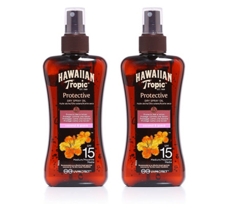 HAWAIIAN TROPIC™ Dry Protective Oil LSF 15 2x 200ml