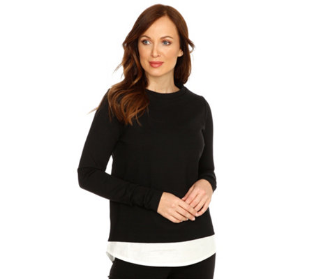 JETTE Sweatshirt, 1/1-Arm 2in1 Optik Rundhalsausschnitt