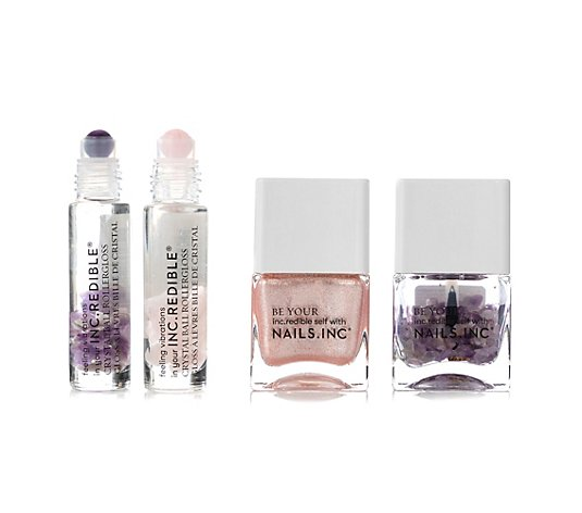 NAILS.INC® Nagel- & Lippen-Set Nagellack, Topcoat 2x Lippenroller mit pflegenden Kristallen