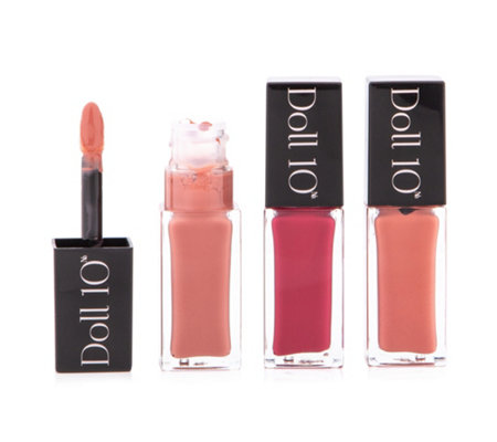 DOLL 10 BEAUTY High Shine Liquid Flüssiger Lippenstift 3x 7ml