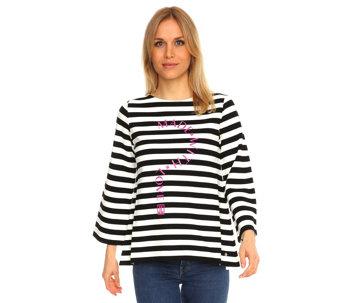 be029e735074 JETTE Designermode Sweatshirt, 7 8-Arm gestreift Kontrastdruck - 205498