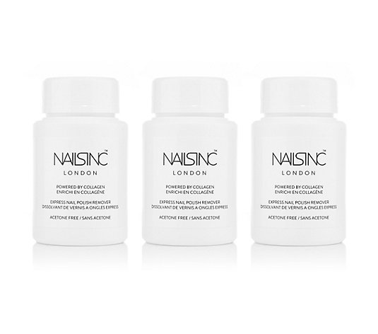 NAILS.INC® Express Nagellack Entferner Trio mit Collagen 3x 60ml