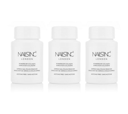 NAILS INC Express Nagellack Entferner Trio mit Collagen 3x 60ml
