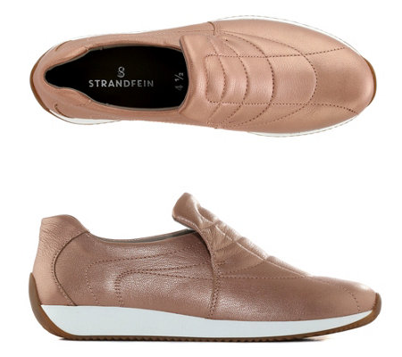 STRANDFEIN Slip-on echt Leder Metallic-Optik