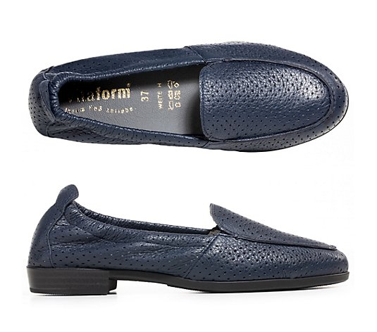 VITAFORM Damen-Slipper Hirschleder All-over Perforation Tunnelgummizug