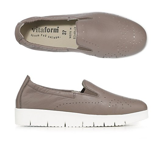 VITAFORM Damen-Slipper Softnappa Metallic-Optik Perforation