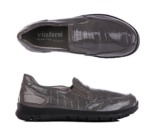 VITAFORM Damen-Slipper Krokolackstretch rutschhemmende Sohle Shock-Absorber