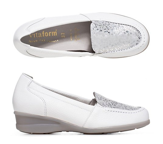 VITAFORM Damen-Slipper Hirschleder Metallic-Blatt Shock-Absorber