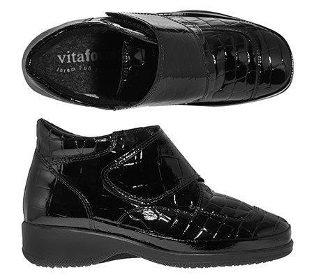 offizieller Shop Bestseller einkaufen abwechslungsreiche neueste Designs VITAFORM K-Weite Damen-Stiefelette Leder & Stretch Klettverschluss — QVC.de