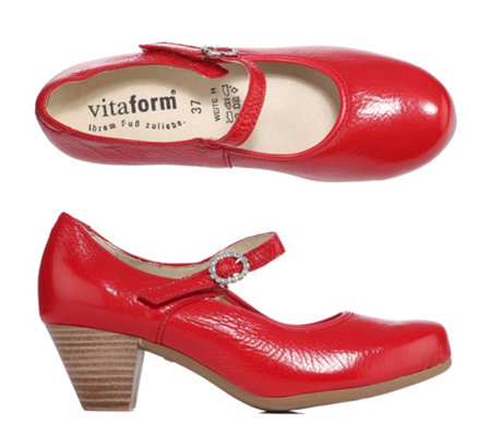 VITAFORM Mary-Jane-Pumps Hirschleder Crashlack-Optik Riemen