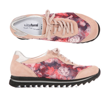 VITAFORM Damen-Sneaker Velours / Stretch Blumenprint Haifischsohle