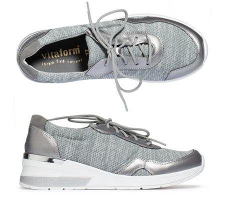VITAFORM Damen Sneaker Textilstretch Leder Keilabsatzsohle —