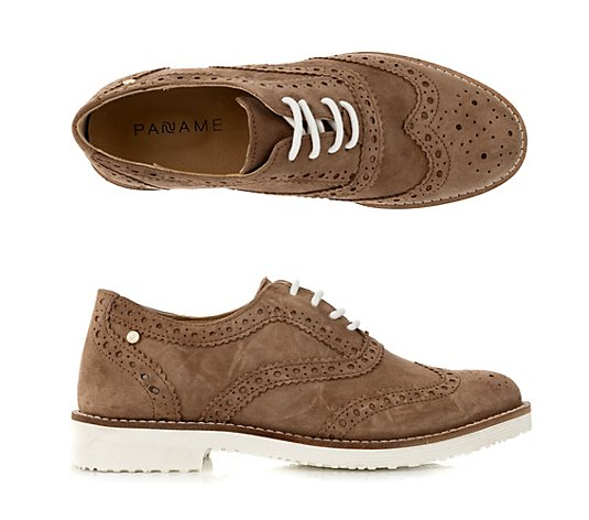 PANAME Damen-Halbschuh Veloursleder Brogue Optik