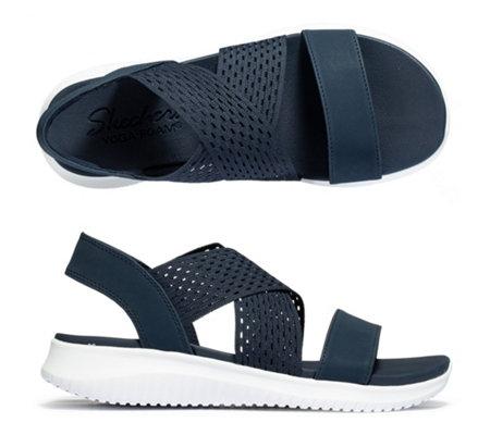 SKECHERS Damen Sandale Ultra Flex Textil Yoga Foam —