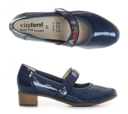 VITAFORM Elegance Mary-Jane-Pumps Leder & Stretch Lack-Optik Absatz ca. 3,5cm
