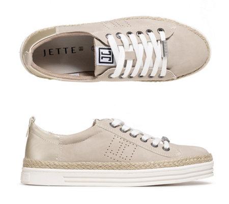 JETTE Damen Sneaker Lederimitat metallic Optik Bast Details —