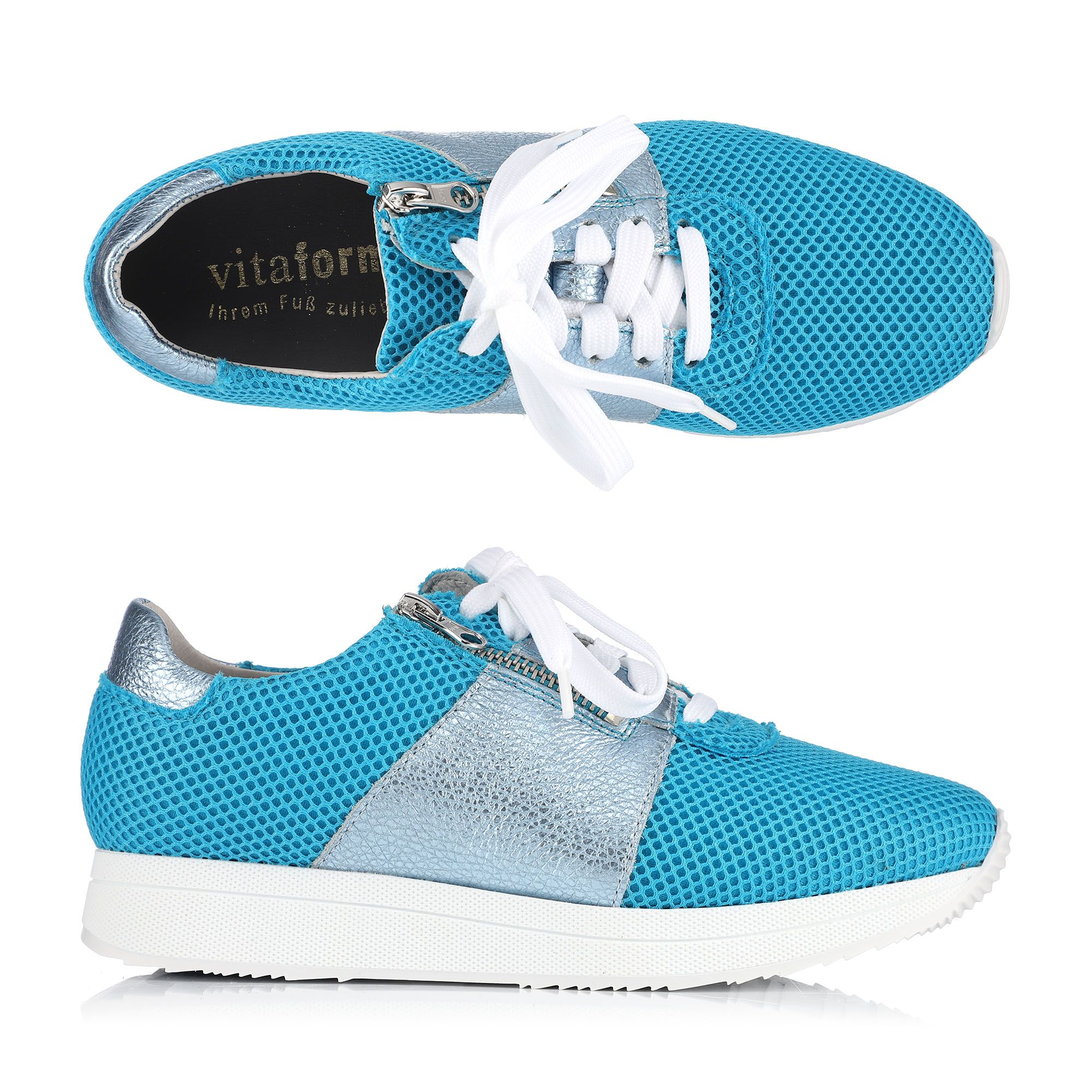 Damenschuhe VITAFORM Damen-Sneaker Softnappa Mesheinsatz Glitzer /& Neon