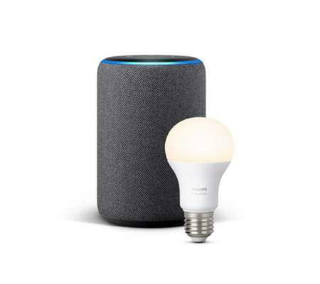 AMAZON Echo Plus 2nd Gen sprachgesteuerter Lautsprecher Philips Hue Lampe