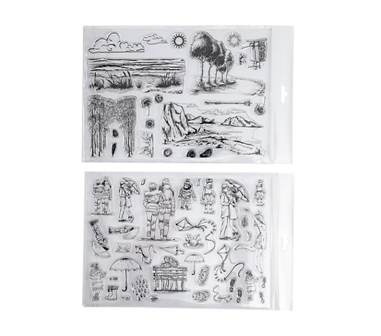 CREATE AND CRAFT RARE EARTH® Stempel-Set Landschaften & Wetter, 2tlg.