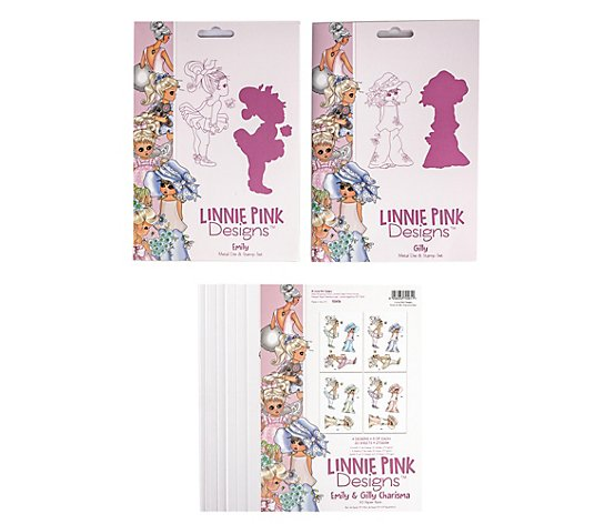 CREATE AND CRAFT Linnie Pink Schablonen-& Stempel-Set 24tlg.
