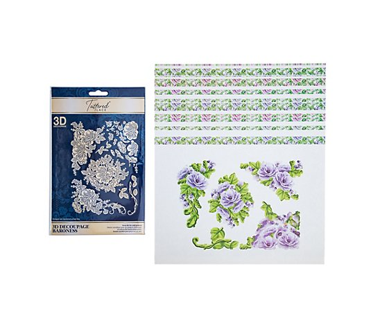 CREATE AND CRAFT TATTERED LACE® Schablonen-Set 3D-Blumenmotive 52tlg.