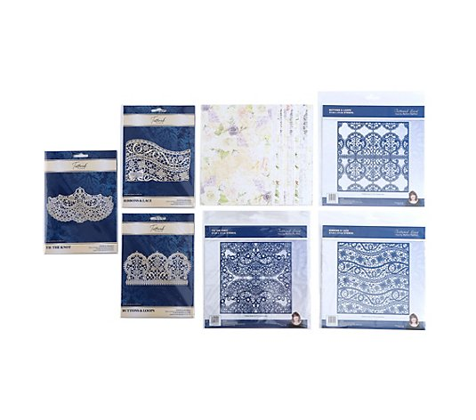 CREATE AND CRAFT TATTERED LACE® Schablonen-Set verschiedene Motive 7tlg.