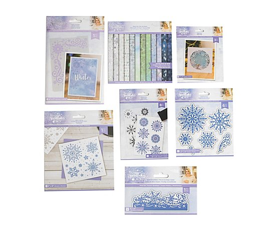 CRAFTER'S COMPANION Kreativ-Set Glittering Snowflake Metall- & Embossing- schablonen,50tlg