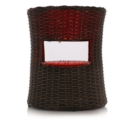 LED Tisch Rattan Beistelltisch Für Den Garten Farbwechsel LED H. Ca. 48cm