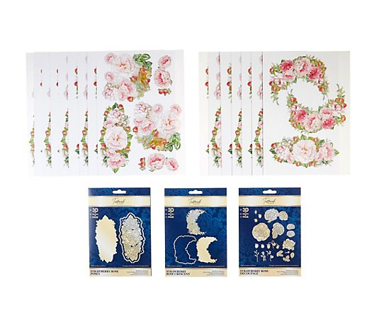 CREATE AND CRAFT TATTERED LACE® Schablonen-Set Strawberry Rose inkl. Papier, 40tlg.