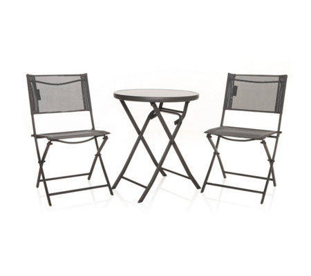 Westfield Balkon Set 2 Stühle 1x Tisch Faltbar Stahl Textil