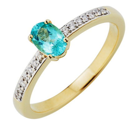 Paraiba Turmalin 0,50ct Ring Brillanten 0,12ct Gold 585