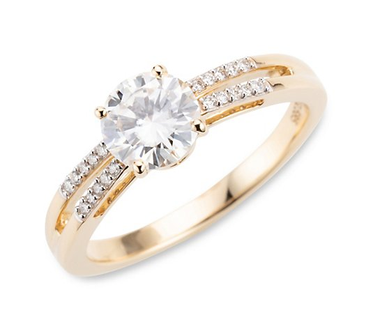 Moissanit Ring ca. 1,23ct 20 Brillanten 0,09ct Gold 585