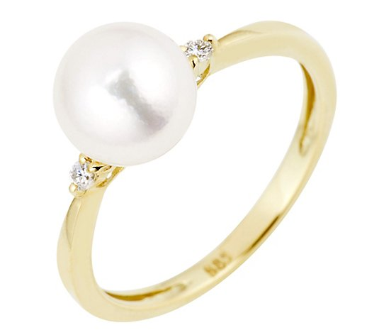 PERLEA Ring Akoyazuchtperle 2 Brillanten 0,05ct Gold 585