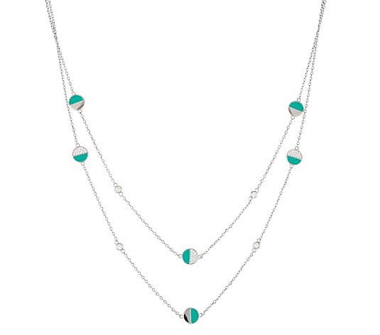 DIAMONIQUE® Collier = 0,42ct Brillantschliff Silber rhodiniert