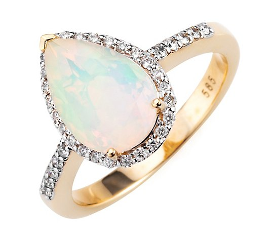 Afrikanischer Opal Ring ca. 1,90ct 36 Brillanten 0,25ct Gold 585