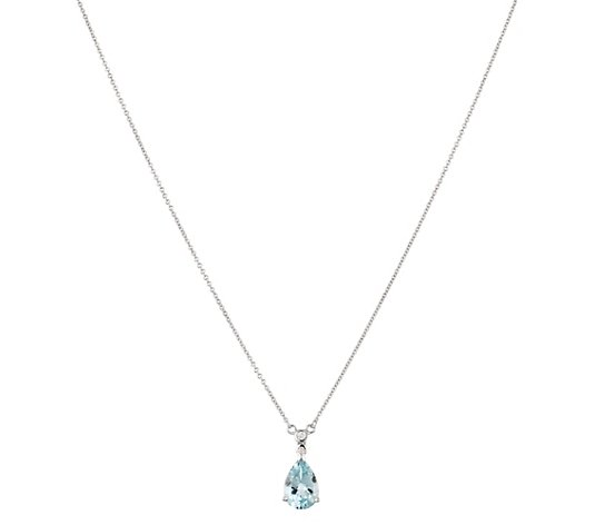 Collier Premium Aquamarin ca. 1,30ct Brillanten 0,02ct Weißgold 585