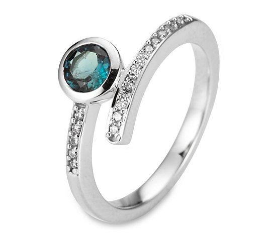 Croisé-Ring blauer Turmalin ca. 0,40ct Brillanten 0,09ct Weißgold 585