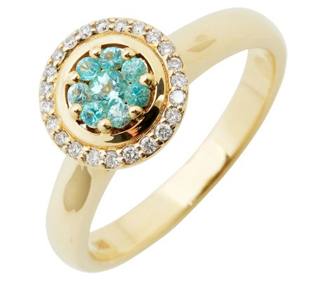 Paraiba Turmalin 0,16ct Ring Brillanten 0,11ct Gold 585