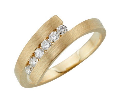 Croisé-Ring 6 Brillanten zus. ca. 0,30ct Weiß/SI Gold 585