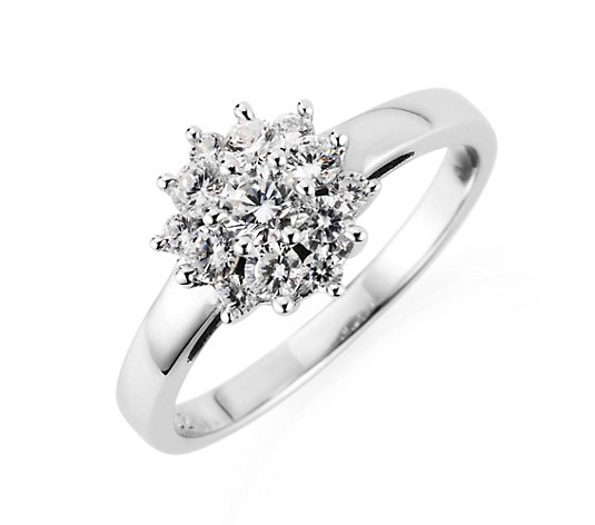 DIAMONIQUE® Ring = 0,94ct Brillantschliff Silber rhodiniert