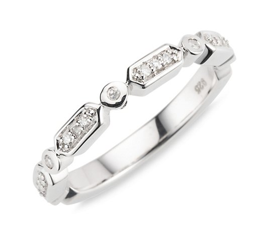 ART DECO DIAMONDS Ring 17 Diamanten zus. ca. 0,10ct Silber 925