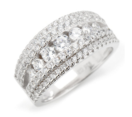 DIAMONIQUE® Ring = 1,32ct Brillantschliff Silber rhodiniert