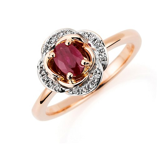 Ring Rubin ca. 0,53ct oder Smaragd ca. 0,38ct 20 Brillanten 0,10ct Gold 585
