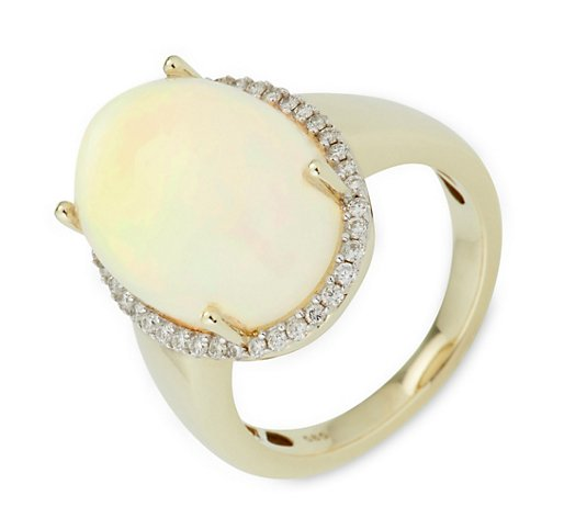 Afrikanischer Opal Ring ca. 10,00ct 40 Brillanten 0,28ct Gold 585