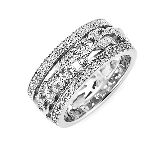 ART DECO DIAMONDS Ring 52 Diamanten zus. ca. 0,15ct Silber 925