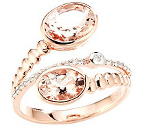 Morganit Croisé-Ring AAA / 1,80ct 21 Diamanten 0,09ct Roségold 585 - 606828