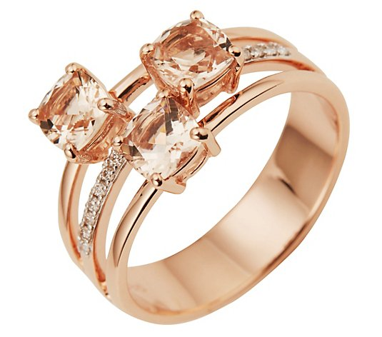 Morganit Ring AAA / 1,50ct Brillanten 0,07ct Roségold 585
