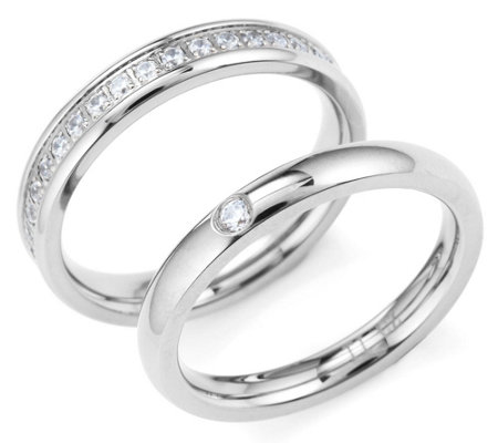 DIAMONIQUE® TITAN 2tlg. Ringset = 0,44ct poliert